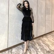 2019春季中长款裙子高腰蛋糕裙蕾丝网纱拼接丝绒连衣裙女装