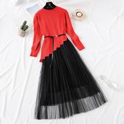 连衣裙女秋冬不规则斜边套头针织毛衣搭配蕾丝打底裙子两件套装裙