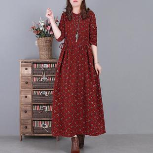 衣都格格文艺复古棉麻小碎花抽绳收腰显瘦中长款连衣裙秋季女长袖