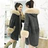 2018女装冬装宽松大码中长款棉衣外套女毛领棉袄加绒加厚大衣