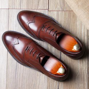 英伦布洛克雕花皮鞋男真皮西装巴洛克男皮鞋牛津鞋德比欧美男鞋