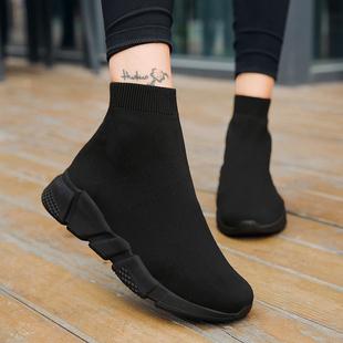 老北京布鞋女春季大码高帮全黑色弹力袜子鞋内增高运动休闲鞋妈妈