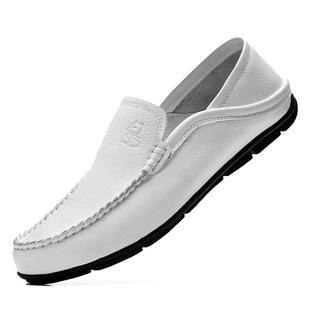 秋季白色豆豆鞋男真皮懒人鞋牛皮软面皮英伦一脚蹬男式皮鞋男
