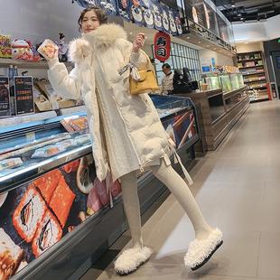冬季2018仿狐狸大毛领刺绣棉服女中长款棉袄加厚羽绒棉衣外套