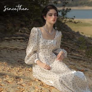 从那以后温柔的风法式长袖波点连衣裙早秋女仙女雪纺长款裙子夏女