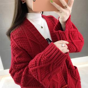 纯大红色慵懒风粗棒针织开衫毛衣外套女装2018国宽松加厚