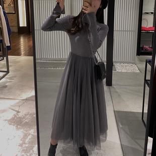2019春季女装法式复古赫本中长款气质针织拼接网纱连衣裙子