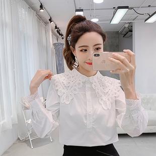 2019春季女装时尚娃娃领衬衣长袖花边拼接白衬衫女上衣潮