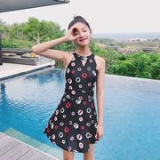 亦美珊泳衣女保守连体裙式黑色遮肚露背韩国学生小清新温泉游泳衣
