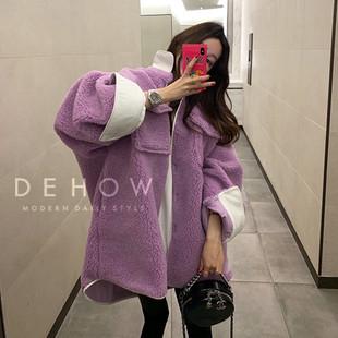 韩国东大门2018秋冬羊羔毛拼接撞色宽松工装翻领羊羔绒外套女