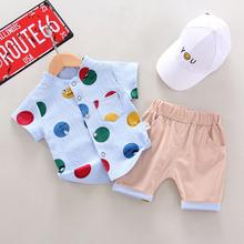 男宝宝夏季衬衫1-4岁男女宝宝纯棉儿童帅气短袖衬衣两件套潮3