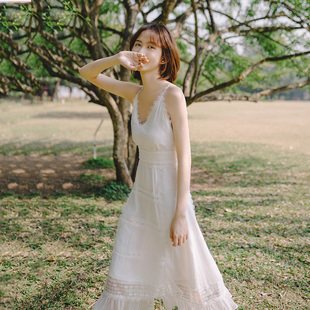 起风了超仙女chic温柔ins风初恋雪纺吊带连衣裙度假旅拍轻婚纱