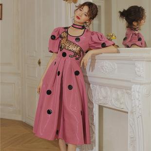 2021豹猫公主波点短袖高端气质性感连衣裙女中长款泡泡袖高腰裙夏