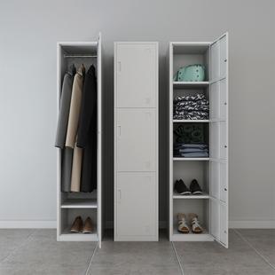 单门更衣柜员工储物柜宿舍办公室家用带锁储存钢制鞋柜铁皮小柜子