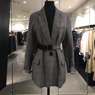 2019春秋时尚显瘦系带气质格纹小西装长袖格子外套女