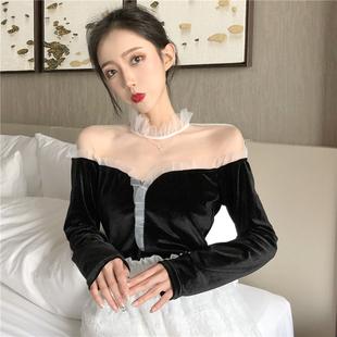 chic秋冬高领打底衫百搭拼接蕾丝衫复古上衣长袖女装