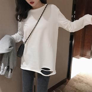 2019春季加厚磨毛长袖T恤宽松破洞圆领纯色打底衫上衣女装