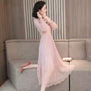 很仙的粉色蕾丝连衣裙女装2019春秋长袖气质显瘦雪纺过膝长裙