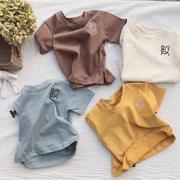 时尚儿童短袖纯色T恤童装婴幼童小童男女童上衣刺绣2020夏季