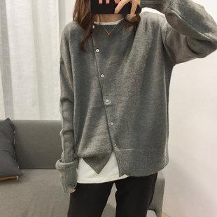 气质宽松设计感斜门襟针织开衫女圆领简约纯色毛衣秋季薄外套