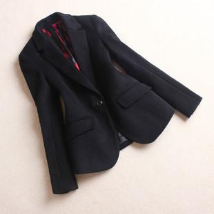2019春秋羊绒小西装女士加厚短款羊毛西服一粒扣呢子外套