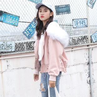 棉服女2018棉衣宽松bf短款棉袄工装大毛领羊羔毛外套加厚
