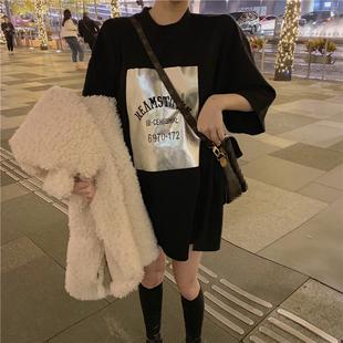 2018秋冬字母印花T恤打底衫宽松中长款半袖短袖上衣女装