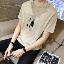 2019春夏男士圆领短袖T恤潮衣服印花体恤衫半袖上衣