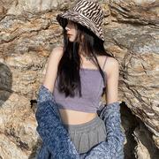 桥花紫色辣妹吊带背心女短款内搭打底毛绒上衣设计感外穿小众法式