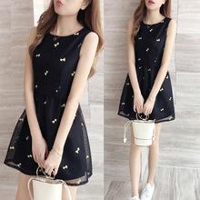 欧根纱连衣裙高腰蓬蓬裙很仙的裙子夏款网纱小清新矮个子小黑裙超