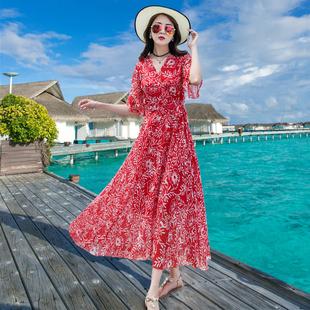 三亚沙滩裙女夏海边度假波西米亚长裙显瘦2019雪纺连衣裙超仙