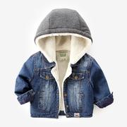男宝宝牛仔衣秋冬儿童加厚冬装1-3岁女童冬季童装6男童加绒外套潮