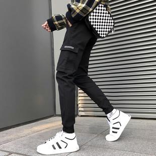 cargo黑色工装裤男潮牌束脚潮流冬季加绒加厚ins裤子