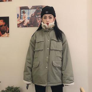 樱田川岛2018冬季bf风工装高领羊羔绒加厚保暖夹克大口袋外套女潮
