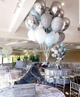 12寸灰色金属银色白色蓝色气球宝宝生日派对结婚房婚礼喜宴会布置