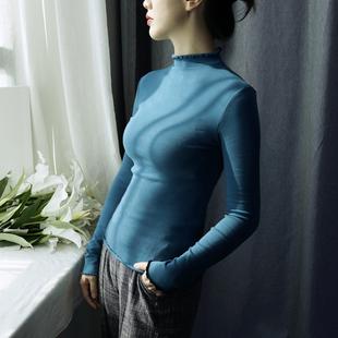 半高领紧身打底衫女长袖秋冬纯色全棉木耳领内搭上衣百搭时尚好看