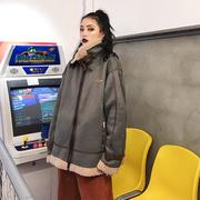 何以沫街头风麂皮绒加厚羊羔毛外套女冬季2018立领机车短外套