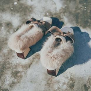 ins小皮鞋女复古加绒英伦风粗跟一脚蹬懒人毛毛鞋外穿冬季豆豆鞋