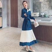 胖mm连衣裙2021春季大码女装法式长袖收腰显瘦气质桔梗长裙