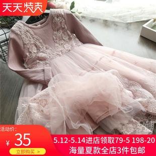 2019春装款女童蕾丝连衣裙气质长袖裙子儿童公主裙连衣裙