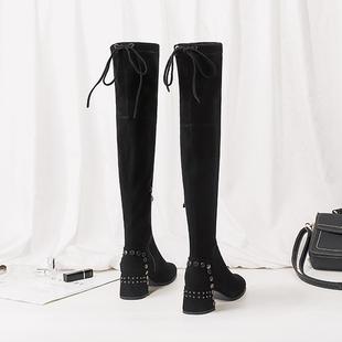 网红铆钉过膝长靴女chic冬季2018粗跟弹力瘦瘦靴长筒马丁靴女