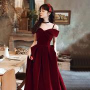 酒红色敬酒服2021夏季新娘春秋吊带丝绒订婚连衣裙女结婚礼服