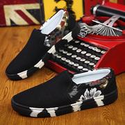 春季老北京布鞋懒人男鞋防臭透气开车时尚潮流帆布男士一脚蹬潮鞋
