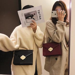chic小包包女2018时尚锁扣单肩小方包ins百搭链条斜挎包