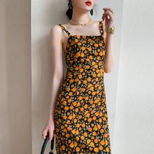 2021夏装法式复古碎花吊带裙女高腰显瘦雪纺度假背带连衣裙子