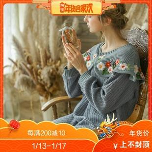 脸儿艺 森女 复古灰蓝色手工绣花 宫廷领 针织羊毛质感套头连衣裙