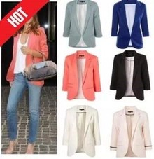 2018spring women candy color short casual jacket coat blazer