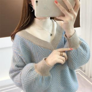 高领假两件毛衣女2018春季套头宽松学生灯笼袖春装打底衫