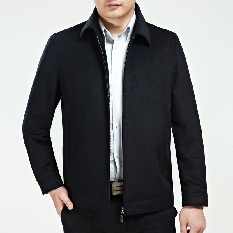 2014秋冬新款 正品鄂尔多斯男装夹克翻领 中老年商务休闲羊绒外套