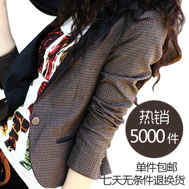 左边 2012秋装新款外套 英伦复古时尚短款格子修身小西装 女 西服